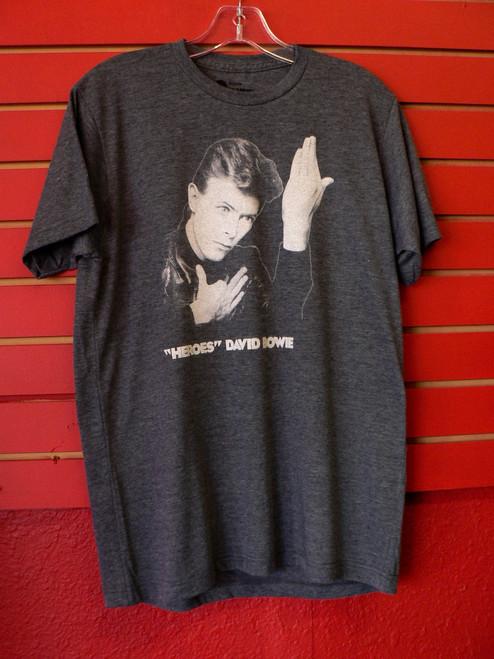 David Bowie - Heroes Album Cover T-Shirt in Dark Grey - Vintage Feel