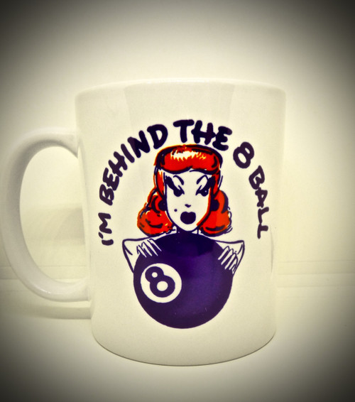 Vintage 1950s Design I'm Behind the 8 Ball - Redhead - Pool - Tattoo - Coffee / Tea / Beverage Mug