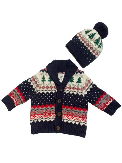 03-6M BabyGap Sweater & Hat Set