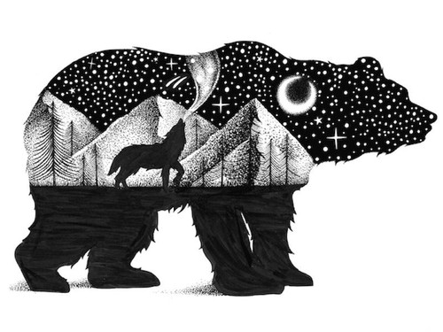 Bear & Wolf Sticker
