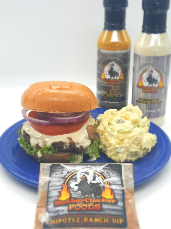Chipotle Ranch Burger With Twisted Old Fashioned Potato Salad