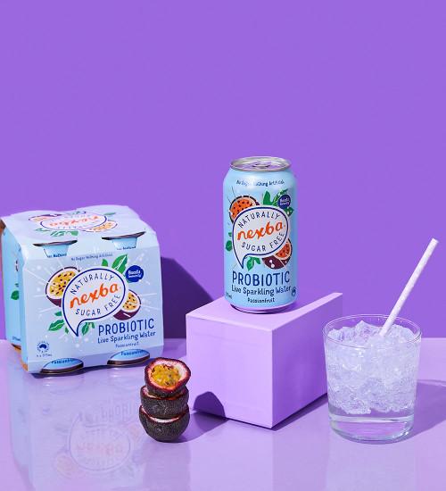 Nexba Passionfruit Probiotic Sparkling Water 375ml Lifestyle