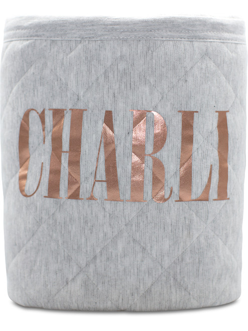 Grey blanket with Metallic Rose Gold print