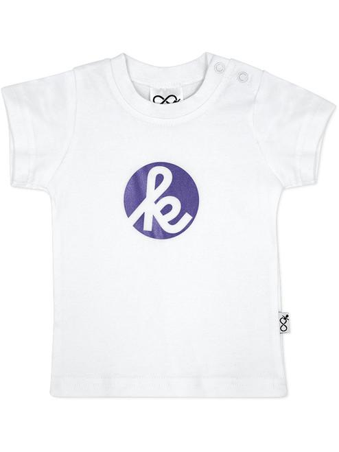 White Tshirt with Metallic Purple print