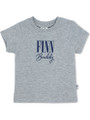 Grey T-shirt with Standard Navy Blue print