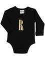 Black Onesie with Goil Foil print