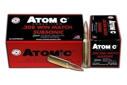 Atomic Ammunition .308 WIN. SUBSONIC 175GR. SIERRA BTHP 50-PACK