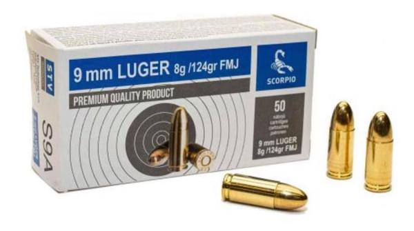 Scorpio 9mm Ammunition AS9A 124gr FMJ 1,000 Round Case