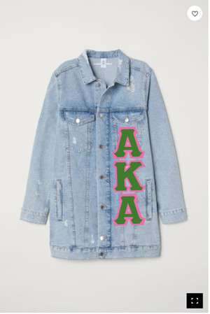 Deference Clothing® compatible with Alpha Kappa Alpha Clothing® Chapter 12-Long Jean Jacket