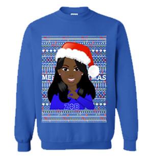 Deference Clothing® compatible with Zeta Phi Beta Clothing® Chapter 40 Ugly X-Mas Sweatshirt