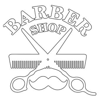 BarberMate Shear & Comb Barbershop Vinyl Cling Decal