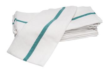 Diane Barber Towel White w/Green Strip - 12ct