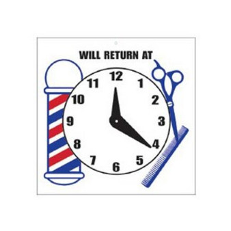 "Scalpmaster ""Will Return At"" Sign w/ Clock"
