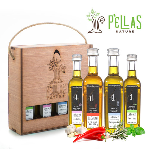 Organically Infused Olive Oil gift Set in handcrafted wooden box