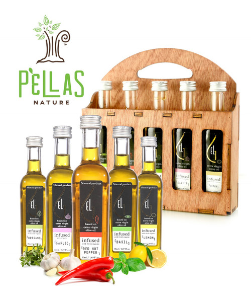 Fresh Organic Herbs Infused Greek Extra Virgin Olive Oil | 5 infused Flavors in French Glass bottles | Finishing oil | Wooden Gift Set | 5 X 1.7oz Each