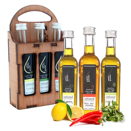 Fresh Organic Herb Infused Extra Virgin Olive Oil Set   Finishing Oil   Lemon   Red Pepper   Oregano   Wooden Gift Set   Single Origin Greek   3 X 1.7oz Bottles