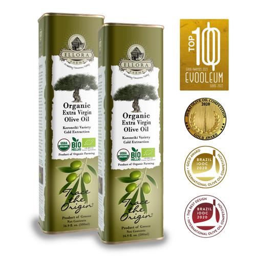 Certified USDA Organic 100% Greek Extra Virgin Olive Oil | Koroneiki Variety Olives | Single Origin & Traceable | 17 oz BPA Free Tin | Pack of 2