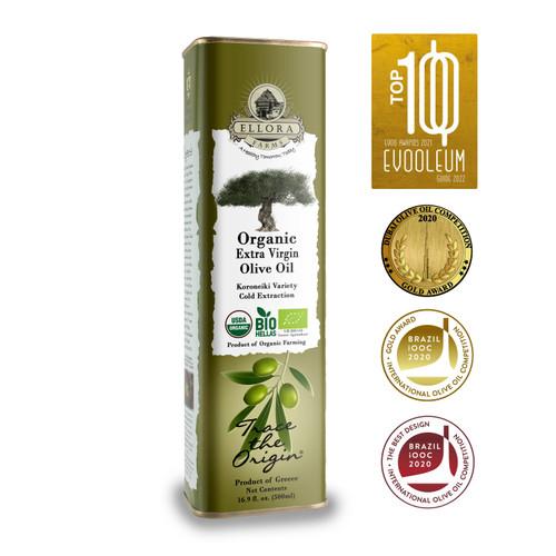 Certified USDA Organic 100% Greek Extra Virgin Olive Oil | Koroneiki Variety Olives | Single Origin & Traceable | 17 oz BPA Free Tin