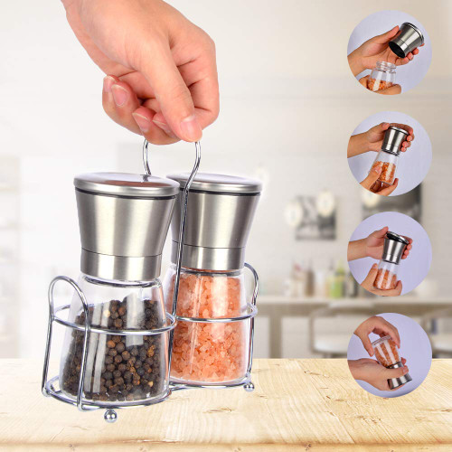Salt & Pepper Mills | 3 Pcs Grinder with Free Caddy | Empty & Refillable Spice, Pepper or Salt Mills