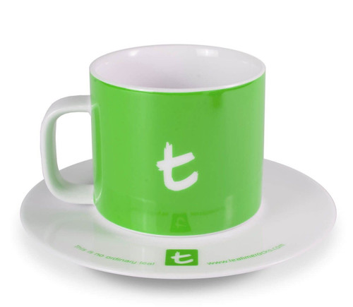 t- Mug & Saucer, Porcelain, 250 ml Green