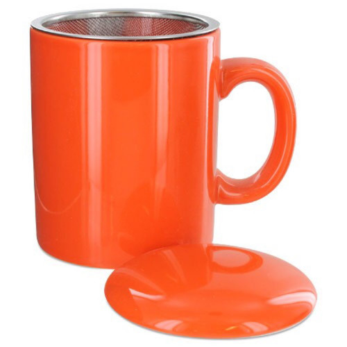 Infuser Tea Mug With Lid, 11 oz Orange
