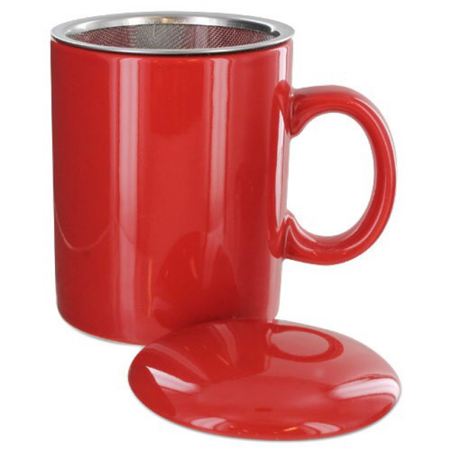 Infuser Tea Mug With Lid, 11 oz Red
