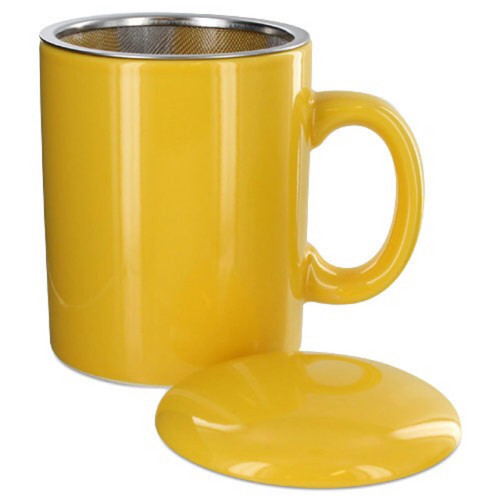 Infuser Tea Mug With Lid, 11 oz Yellow