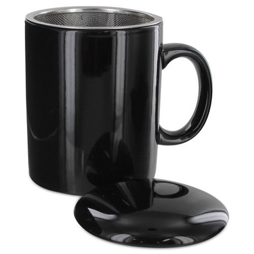 Tea2Brew Tea Mug with infuser and lid Black