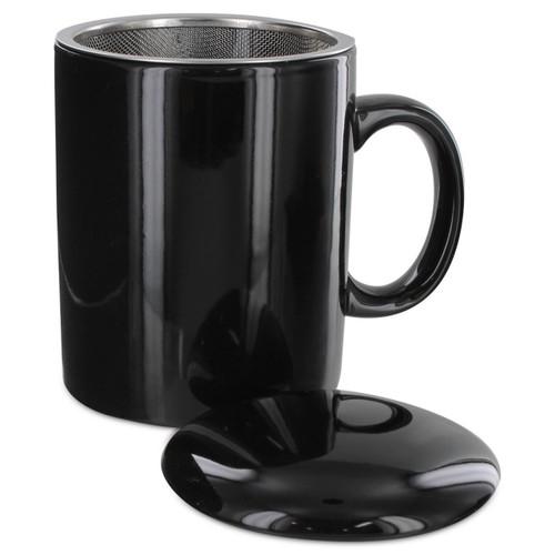 Tea2Brew Tea Mug with infuser and lid Black