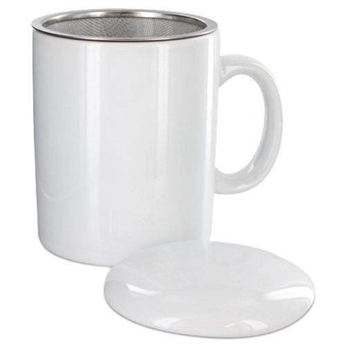 Infuser Tea Mug With Lid, 11 oz  White