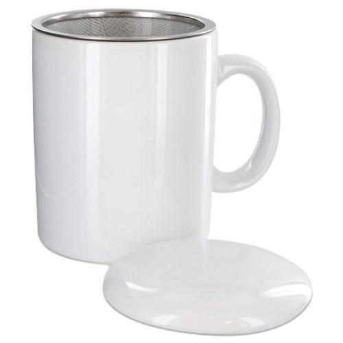 Infuser Tea Mug With Lid, 11 oz  White
