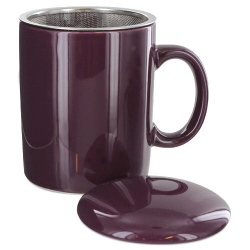 Infuser Tea Mug With Lid, 11 oz Purple