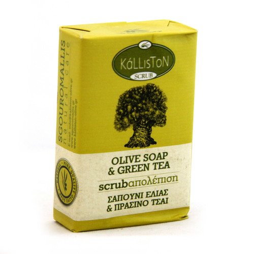 Olive Oil Soap Scrub with Green Tea Extract & Aroma  | All Natural | Made in Ancient Crete, Greece | 3.53 oz.