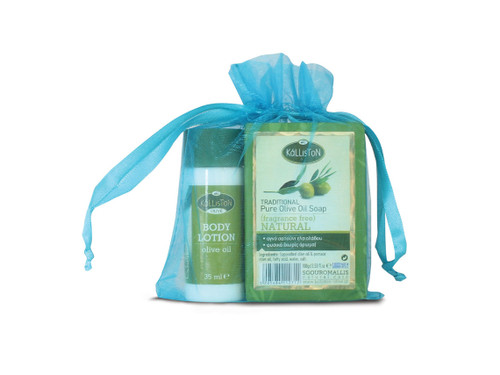 Gift Pouch with Traditional Olive Oil Soap & Body Lotion | ASSORTED | All Natural | Assorted Aroma Fragrances | Made in Ancient Crete, Greece | 3.53 oz.