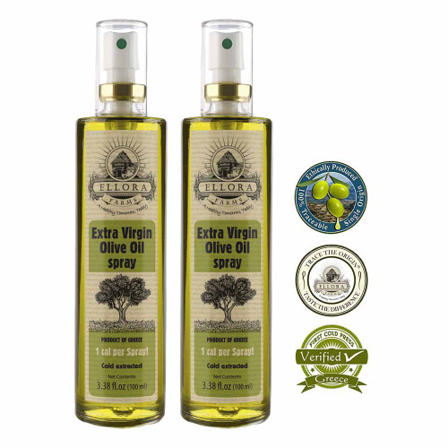 Extra Virgin Olive Oil in Glass Spray Bottle | Clog Free | One Calorie Per Spray | Single Origin & Traceable Olive Oil | Harvested in ancient Crete, Greece | 3.38 oz. Bottle | 2 Pack