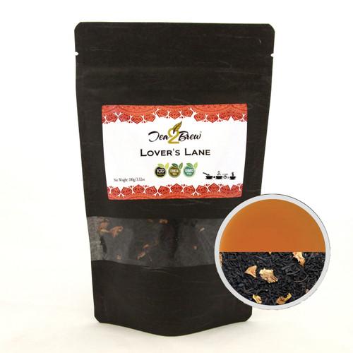 LOVER'S LANE TEA | Loose Leaf Black Tea with Rose Petals | Designer Resealable Pouch | 3.52 oz.