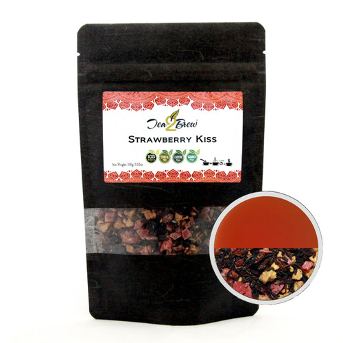 STRAWBERRY KISS TEA | Loose Leaf Hibiscus Infusion with Tropical Fruit Pieces | Designer Resealable Pouch | 3.52 oz.
