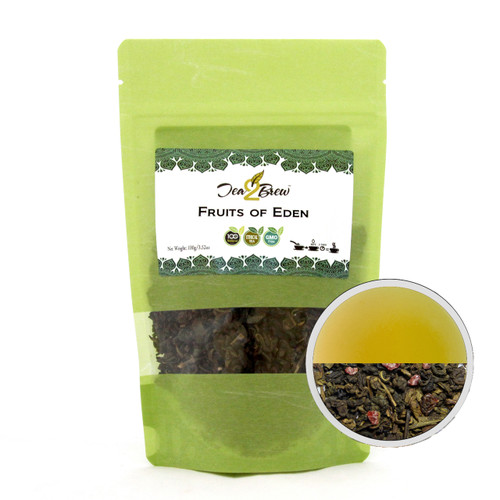 FRUITS OF EDEN TEA | Loose Leaf Green Tea with Berry Fruits, Vanilla, and Cream | Designer Resealable Pouch | 3.52 oz.