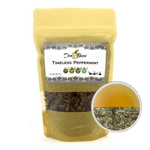 TIMELESS PEPPERMINT TEA | Loose Leaf Peppermint Leaves | Soothing & Calming Tea | Designer Resealable Pouch | 3.52 oz.