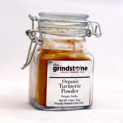 Grindstone, Certified Organic Turmeric Powder, 100% Pure  1.5 oz. Glass Jar