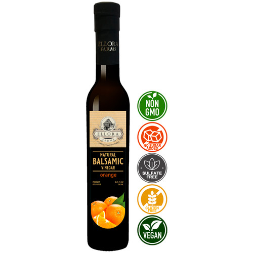Infused Balsamic Vinegar Creme with Orange Extract, All Natural, Product of Crete, Greece, 250 ml