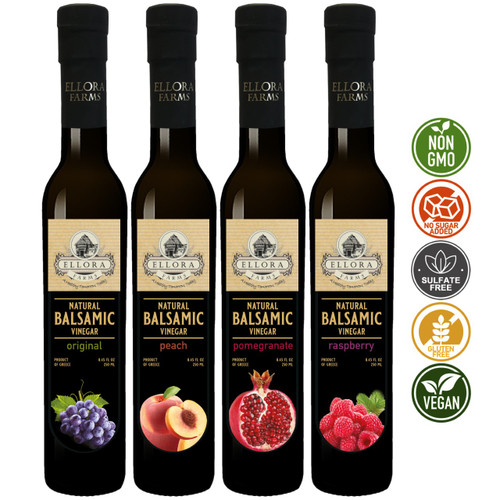Combo Pack  Original Balsamic and Peach, Pomegranate, Raspberry Infused Balsamic Vinegar Creme Pack, No- Additives, No-Added Sugars, Glass Bottles, Pack of 4