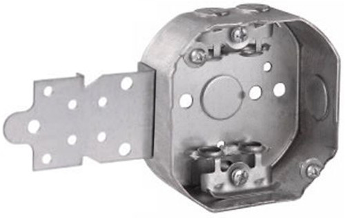 """4"""" Octagon Box w/ Front Wetwall Bracket, BX Clamps"""