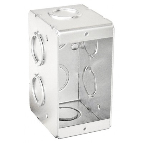 "1-Gang Masonry Box, Nongangable, 2-1/2"" Deep w/ KO's"