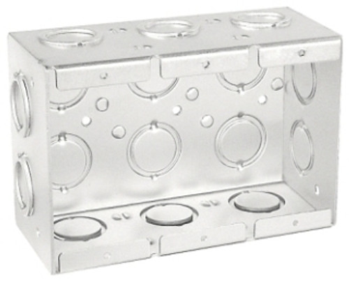"3-Gang Masonry Box, 2-1/2"" Deep w/ KO's"