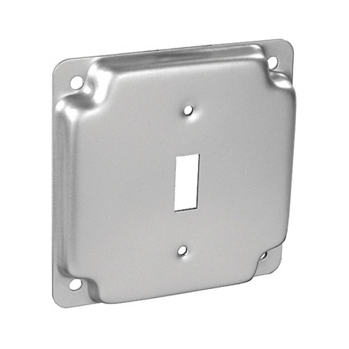 "4"" Square Finished Cover Raised 1/2"" w/ 1 Toggle Switch"
