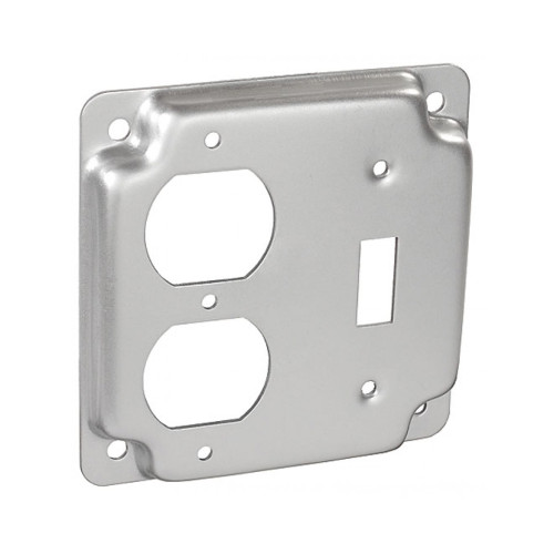 "4"" Square Finished Cover Raised 1/2"" w/ 1 Toggle Switch and 1 Duplex Receptacle"