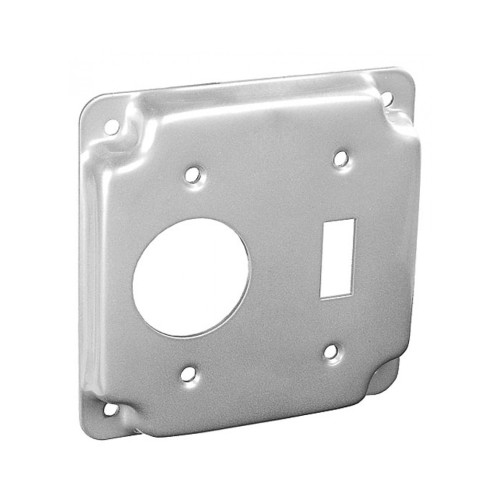 "4"" Square Finished Cover Raised 1/2"" w/ 1 Toggle Switch and 1 Single Receptacle"