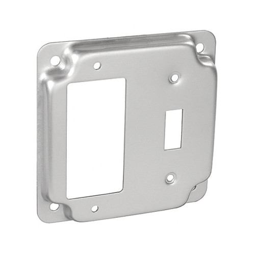 "4"" Square Finished Cover Raised 1/2"" w/ 1 Toggle Receptacle and 1 GFCI Receptacle"