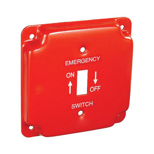 """4"""" Square Finished Cover Raised 1/2"""" w/ 1 Toggle Switch, Red Emergency Cover"""